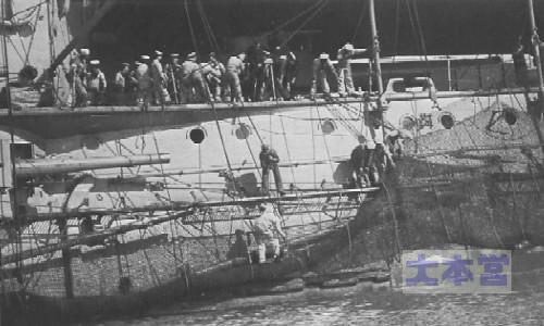 装甲艦ホットスパー、水雷防御網収容