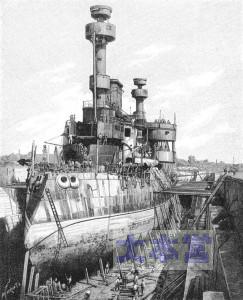 戦艦オッシュ建造中のイラスト
