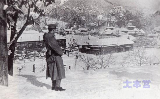 仙台第4連隊長時,雪中訓練で歩哨を優しい目で撮影