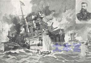 対馬沖で装甲艦ボロジノからロジェストウェンスキーを救出する駆逐艦