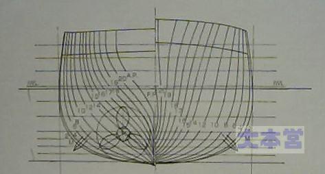 装甲巡春日の正面線図