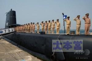 海獅の艦上に整列する水兵