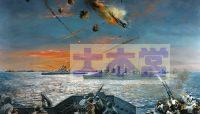 リンガエン湾での特攻を受けるアメリカ艦隊