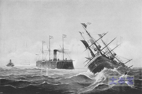 リッサ海戦、墺「フェルディナント・マックス」の衝角攻撃で撃沈された「レ・ディタリア」