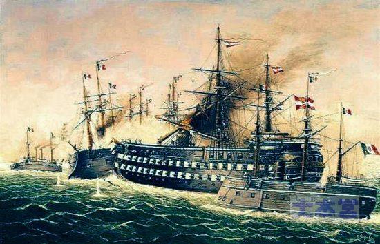 リッサ海戦、墺木造艦「カイザー」の衝角攻撃を退ける「レ・ディ・ポルトガロ」