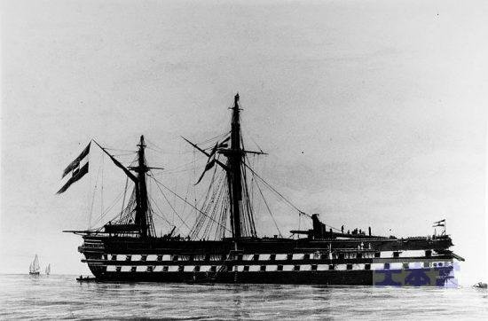 リッサ海戦で艦首を大破した墺木造艦「カイザー」