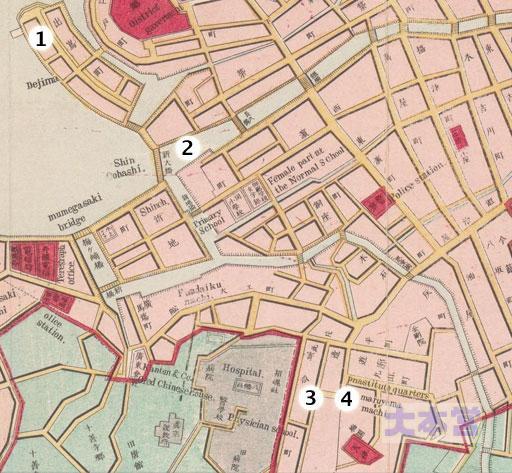 1887年の長崎、1出島2中島川3寄合4丸山
