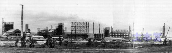北海道人造石油滝川工場の全景(工事中)