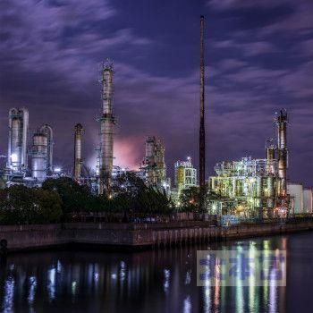 石油プラント夜景1