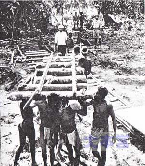 18年12月、道路建設中。パプア族が協力。