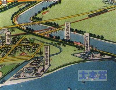 昭和11年の西宮市鳥観図、川西の工場