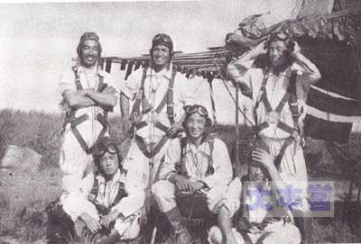 広東の飛行第85戦隊第二中隊、前列中央若松隊長