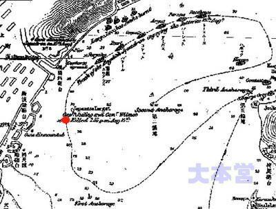 薩英戦争の英艦隊航跡、赤印で艦長戦死