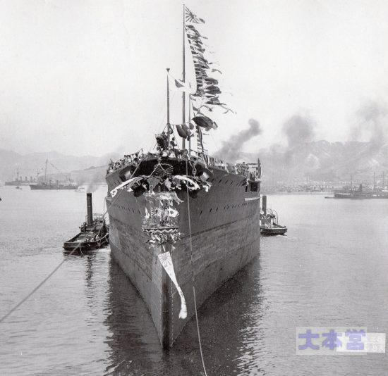 戦艦「扶桑」の進水直後