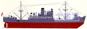 イラスト特務艦宗谷、運送業務用に改装後
