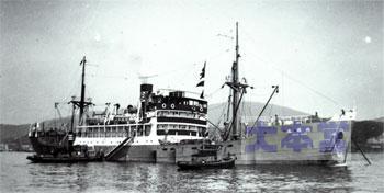 """昭和14年7月頃、栗林汽船にチャーターされ北洋で活躍中に小樽に寄港した""""地領丸"""