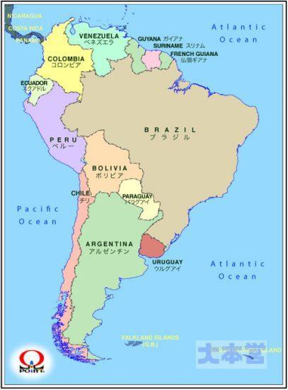 南米の地図