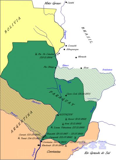 戦争後のパラグアイ領土、斜線の部分が取り上げられた