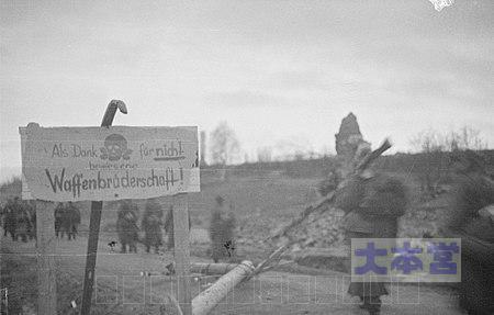 ラップランド戦争でドイツ人が残した看板:「戦友愛を示さないでくれてありがとう!」