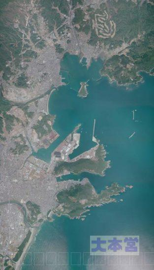 宮崎県日向市細島港の航空写真