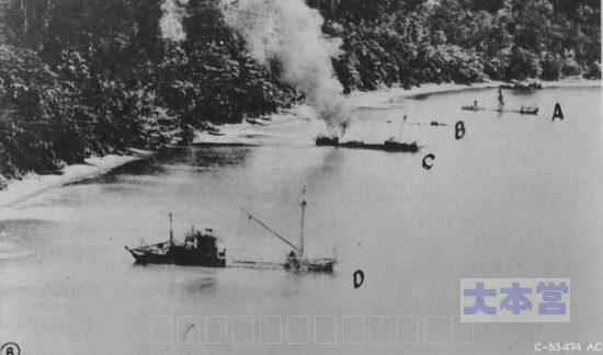 米軍撮影の機帆船損害状況1944